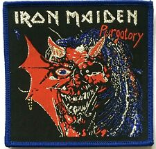 IRON MAIDEN - Purgatory - Woven Patch Sew On Silver Logo Blue Edging Eddie