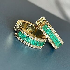 14ct Yellow Gold Emerald Diamond Hoop Earrings Hoops Huggies 5gram