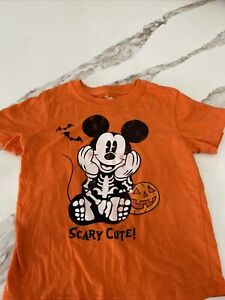 Disney MIckey MOUSE Halloween T-Shirt Skeleton Scary Cute Distressed 4T