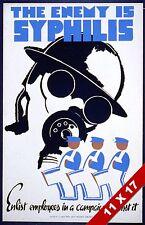 VINTAGE WAR TIME STD SYPHILIS DISEASE PREVENTION POSTER RETRO WPA ART PRINT