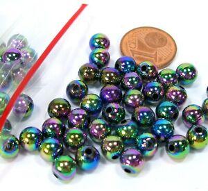Perlen 100 Stück  Wachsperlen Bastelperlen regenbogenfarbig  6mm