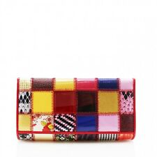 Women Multi Coloured Patched Purse Ladies Zipper Coin Card Holder Wallet