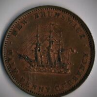 New Brunswick 1/2 D 1854; NB-1B/BR912  High Grade