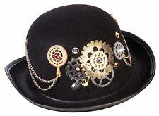 Men's Black Steampunk Derby Hat w/ Gears Bowler Hat  Adult Size