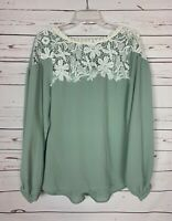 Umgee Boutique Women's Size S Small Sage Ivory Lace Cute Fall Top Blouse Shirt