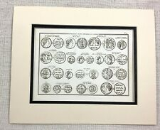 1821 Antique Engraving Ancient Greek Coins Old Money Arabic Currency Numismatics
