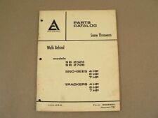 Allis Chalmers Walk Behind Snow Throwers Repair Parts List Catalog 1972