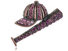 Fashion Purple Crystal Rhinestone Baseball Cap Bat Sports Pin Brooch Jewelry Pin