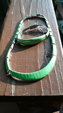 VINTAGE TAXCO MEXICO 950 STERLING TS-101 GREEN TURQUOISE NECKLACE & BRACELET SET