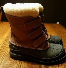Mens LL BEAN Brown 3 Buckle Closure Fleece Lining Snow Winter Boots Size 11 Mint