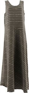 Lisa Rinna Collection Petite Striped Knit Maxi Dress Dark Taupe PXS NEW A289007