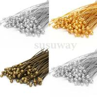 New 100pcs 30/40/50mm Bronze Gold Silver Plated Metal Round Head Pins Headpins