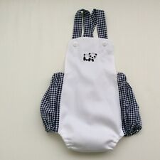 Boys Bubble Romper Playsuit with straps Size 1 Gingham Nwot