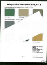 Kriegesmarine WW2 Ship Color paint chip charts set # 2  ( for ship modellors)