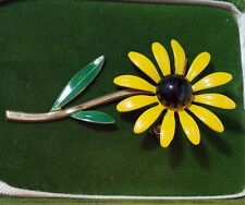 Vintage Sunny Yellow Black Eye Suzie Enamel Flower Rudbeckia Brooch Pin 4b 65