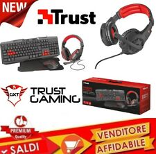 Trust Tastiera PC Gaming + Mouse Gaming + Cuffie Gaming BUNDLE Kit Gaming 4 in 1