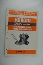 Factory OEM KUBOTA Gas Engine Pump KGP-D30 Illustrated Parts List Manual