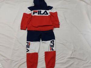 FILA Tracksuit Jacket Pants Set Colorblock Red White Blue Women's Size Medium