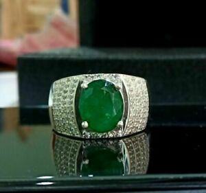 2.6CT EMERALD MEN'S CLASSIC COCKTAIL ENGAGEMENT WEDDING WIDE RING 14K WHITE GOLD