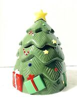 "Ceramic Christmas Tree Musical Cookie Jar 10.5"" Ce Ce Dewley"