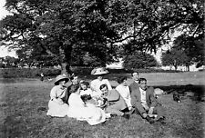GROUP OF YOUNG ADULTS Antique Photographic Glass Negative (1910s Edwardian)