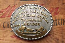 Vtg Joey Bacas 1st An Valley Team Roping Champion Header 1982 Trophy Belt Buckle