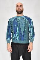 VINTAGE Knitwear Maglione Girocollo Fantasia Norway In Lana Wool TG XL Uomo Man