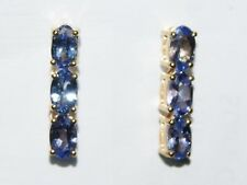 STUNNING 1.40 CT NATURAL AA TANZANITE 9CT GOLD EARRINGS JEWELLERS OLD STOCK SALE