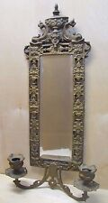 Antique Victorian National Brass & Iron Works Dauphin Mirror Candlesticks NB&IW