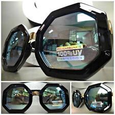 CLASSIC VINTAGE 70s RETRO Style SUNGLASSES Black Octagon Frame Green Mirror Lens