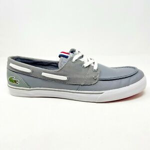 Lacoste Keel FRS SPM Leather Canvas Grey Mens Loafer Slip On Shoes