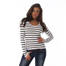 Sexy Pullover Pullover V Ausschnitt Streifen gestreift Weiß  Schwarz 34 36 38