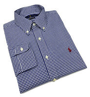 Ralph Lauren Gingham Custom fit 100% Cotton Stretch Shirt  NavyBlue / White