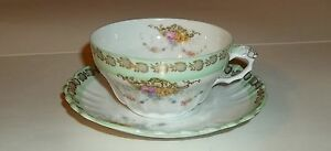 Limoges China Cup and Saucer, Vintage, Twisted Handle, No Chips or Cracks,Lovely
