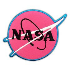 NASA Logo Pink Sign Symbol Embroidered Patch Discovery Space Astronaut Iron On