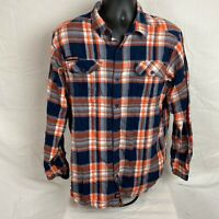 Columbia Mens Auburn Checked Flannel Long Sleeve Button Orange Blue Shirt Size L