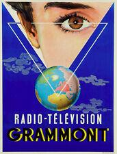 Ancienne  affiche Grammont signé litho radio télévision