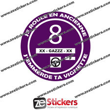Sticker Vignette Je Roule en Ancienne Crit'air 8 humour renault bmw peugeot vw