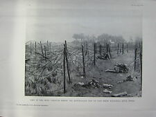 1918 WW1 WWI PRINT ~ GAPS IN THE WIRE AUSTRALIANS PASS ATTACKING ANVIL WOOD