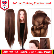 "24"" Hair Practice Training Head Mannequin Hairdressing Doll With Clamp AU"