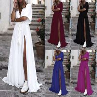 Summer Womens V Neck Ladies Bell Sleeve Long Maxi Slit Holiday Club Party Dress