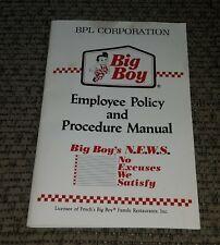 FRISCH'S Big Boy Employee manual handbook book 1989 Toledo Ohio Restaurant Bob's