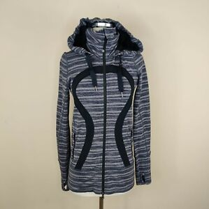 Lululemon Size 4 Stride Jacket w/ Hood Luon Black Stripes Galore / Black