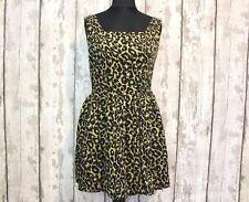 TOP SHOP Leopard/Animal Print Cotton Mini Dress~Vintage/Retro/60s/Party UK12