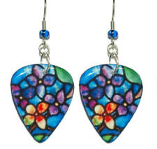 ROYAL BLUE STAINED GLASS FLOWER GUITAR PICK DANGLE EARRINGS (GP004)