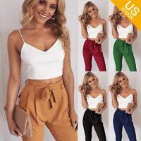 Women 2 Pieces Set Ladies Bodycon Crop Top+Long Pants Cut Out Jumpsuit Romper