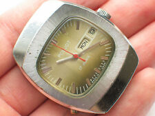 Vintage soviet POLJOT windup watch Brown TV-Dial Day/Date '1980s