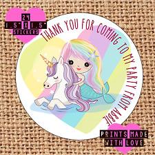 Personalised mermaid unicorn rainbow birthday party bag ,sweet cone stickers mup