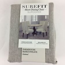 "Surefit Farmhouse Basketweave Short Dining Room Chair Slipcover Oatmeal 42"" NEW"