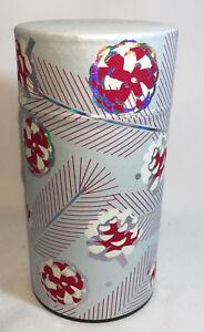 Teavana 5oz Tea or Coffee Storage Tin Blue Pinecone Red White Peppermint
